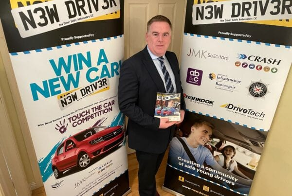 Stephen Savage from New Driver NI with sponsor crash services